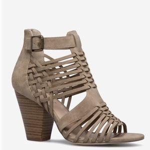 Thandie Taupe Caged Dress Sandals Size 11